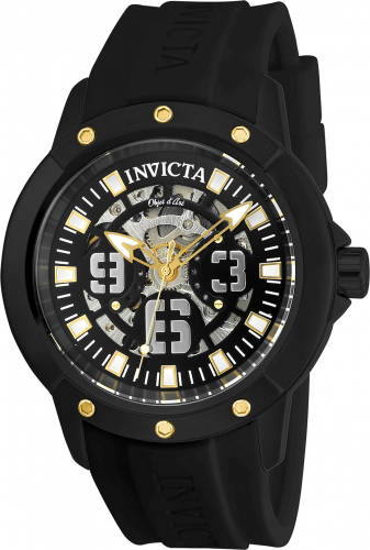 22632 Invicta Mens Objet D Art  Black Band Black Dial
