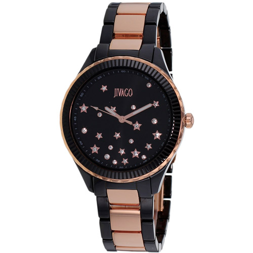 JV2415 Jivago Womens Sky Two-tone Black Rose Gold Band Black Dial