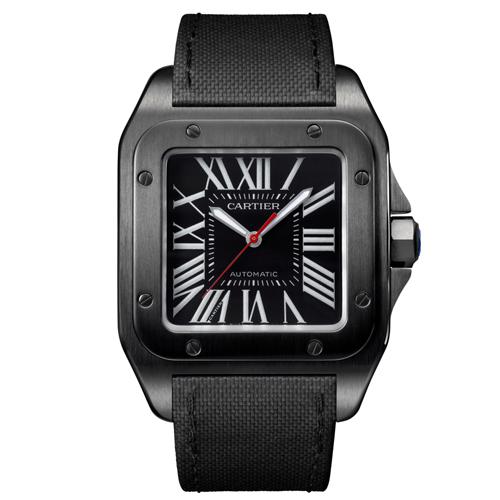 WSSA0006 Cartier Mens Santos 100 WSSA0006 Automatic Black Band Black Dial