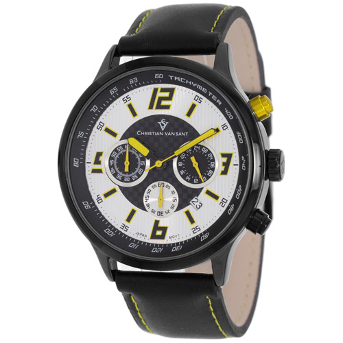 CV3120 Christian Van Sant Mens Speedway Black Band Silver/Yellow Dial