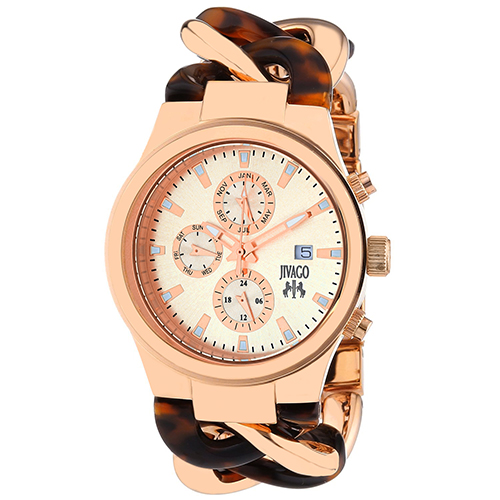 JV1229 Jivago Womens Lev Two-tone Rose gold Tortoise Band Rose gold Dial