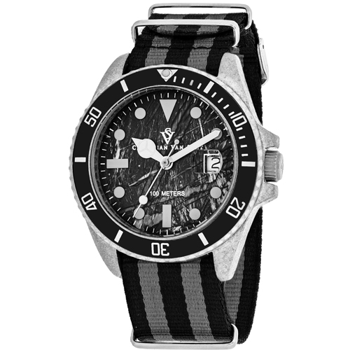 CV5100NBB Christian Van Sant Mens Montego Vintage Quartz Black and grey  Band Black Dial