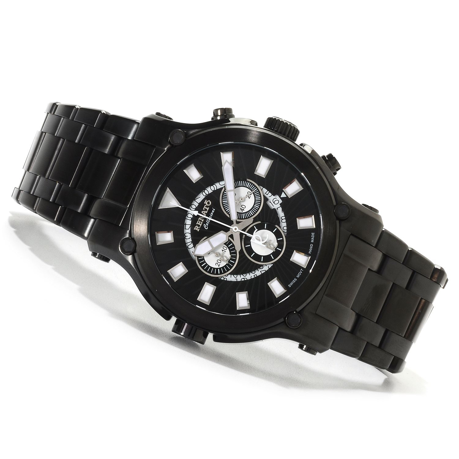 Renato 50CB-A-50CB-5040D Renato Robusto 50 Swiss Chronograph All Black