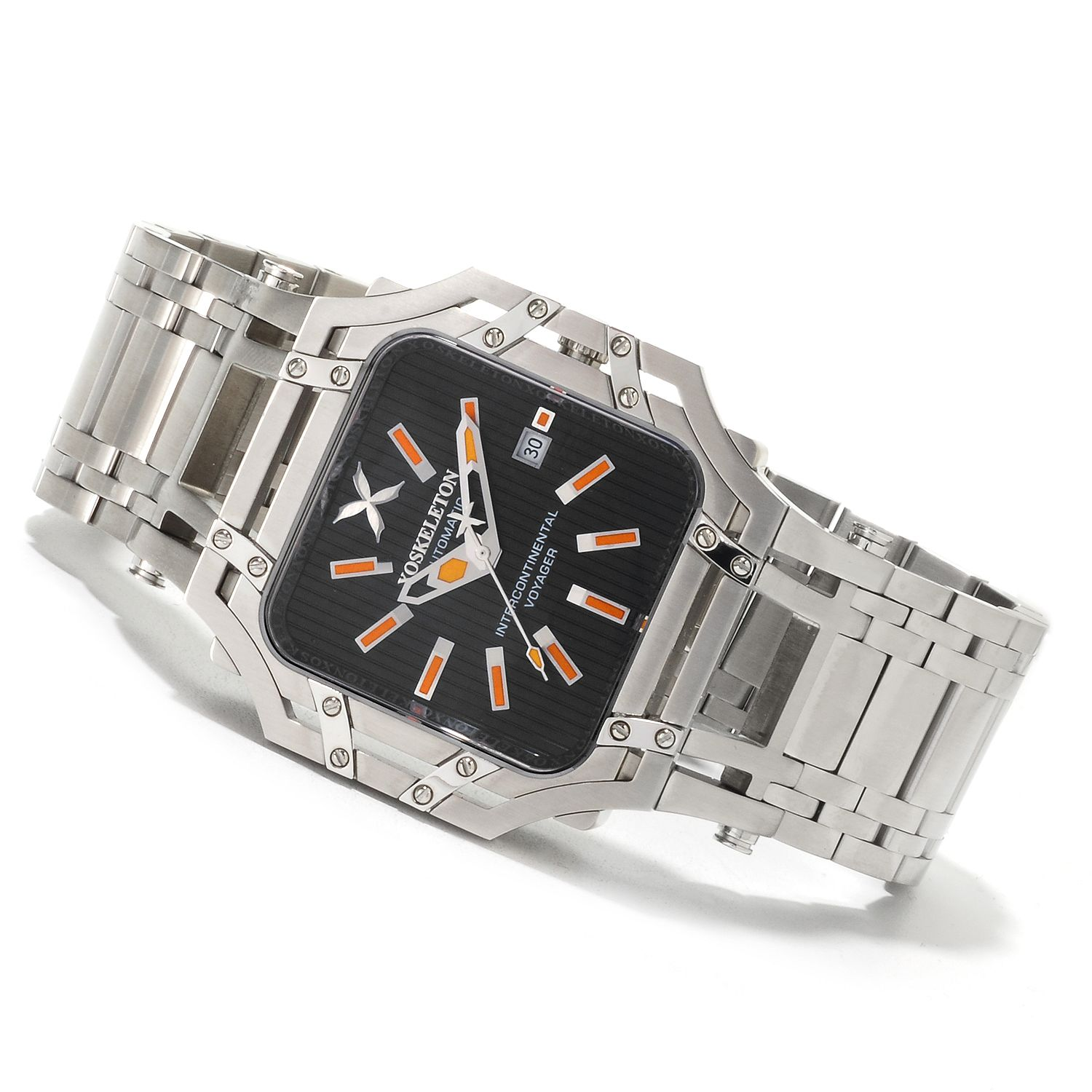XOSkeleton XOS-XI2 XOSkeleton Intercontinental Voyager Automatic Limited Edition 22pcs Black Dial Orange Accents Watch