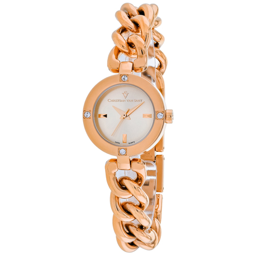 CV0213 Christian Van Sant Womens Sultry Swiss parts Quartz Rose gold Band Silver Dial