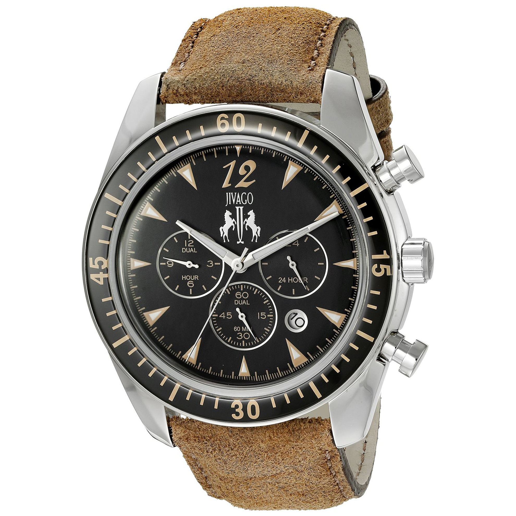 Jivago JV4513 Jivago Men's Timeless Dual Time Black Dial Brown Strap