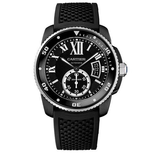 WSCA0006 Cartier Mens Calibre De Cartier WSCA0006 Automatic Black Band Black Dial