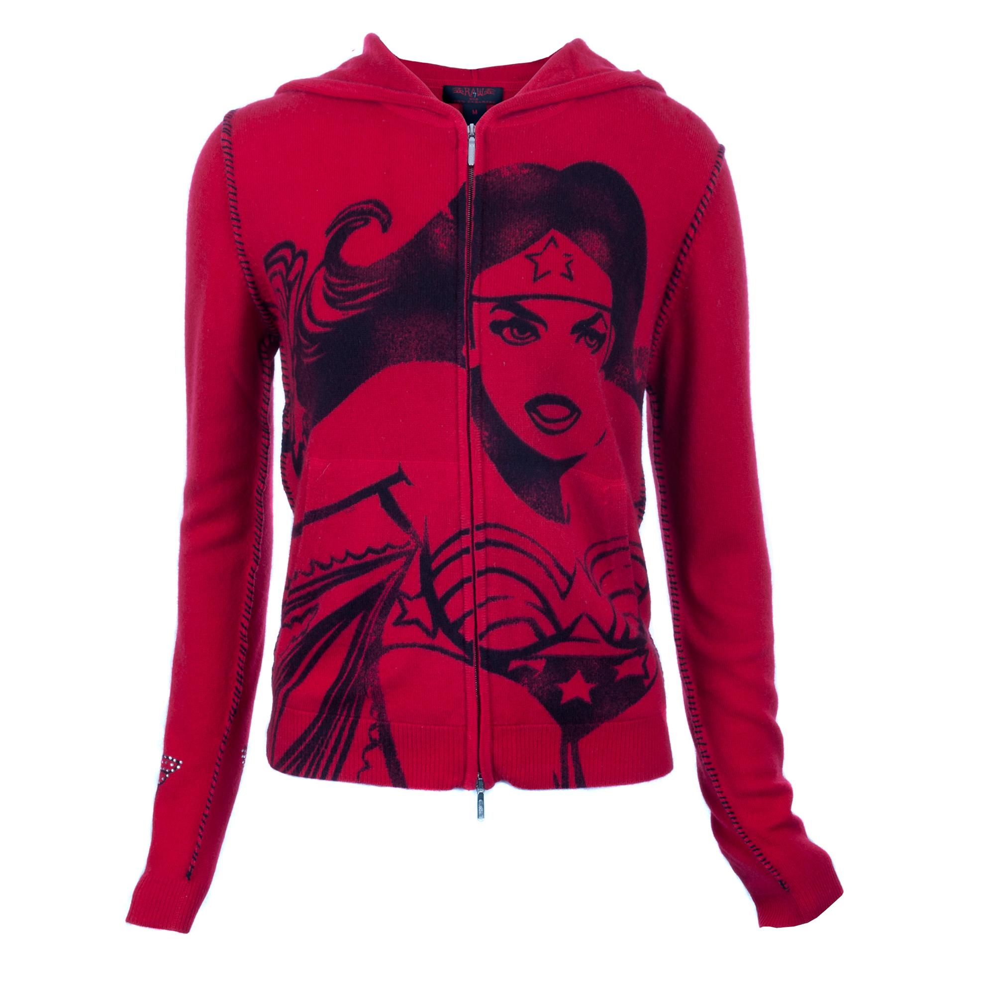 RAW 7 PCSH204-WonderWoman-Red RAW 7 Women's Cashmere Hoodie Zip Front WonderWoman Design Red