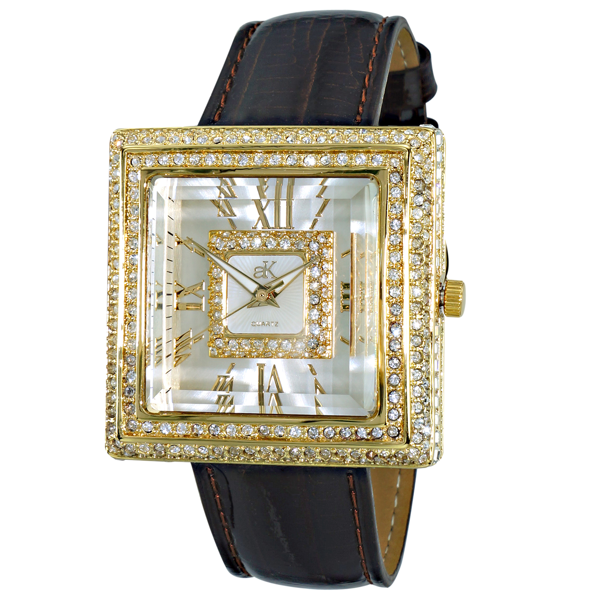 Adee Kaye AK25-LG Adee Kaye Ladies Milan Collection 370 Austrian Crystals Gold Dark Brown Leather Band