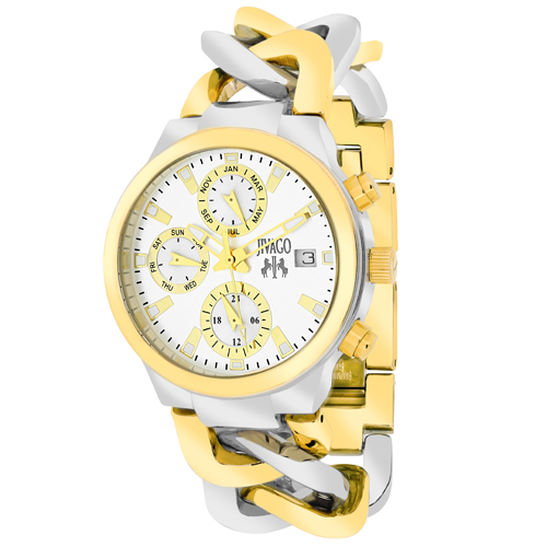 JV1241 Jivago Womens Levley Swiss  Quartz  Two-tone Silver Gold tone Band Silver Dial
