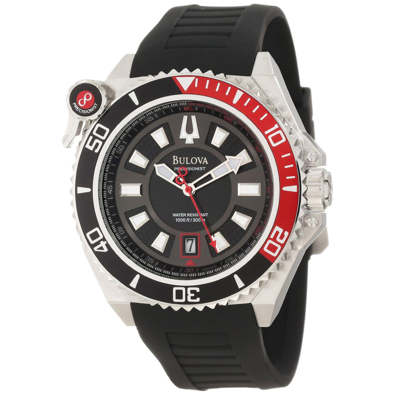 Bulova 98B166 Bulova 46MM Precisionist Catamount Diver Black Carbon Fiber Dial Black/Red Bezel Black Strap