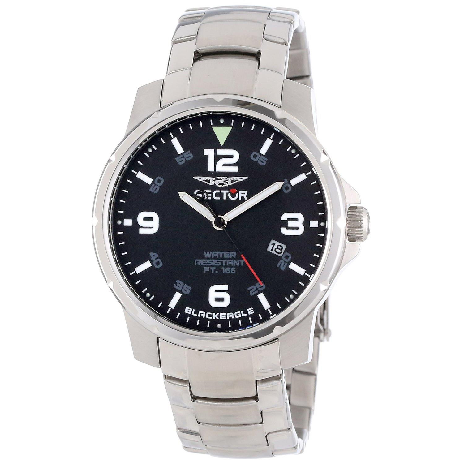 Sector 3253189025 Sector Black Eagle Stainless Steel Black Dial