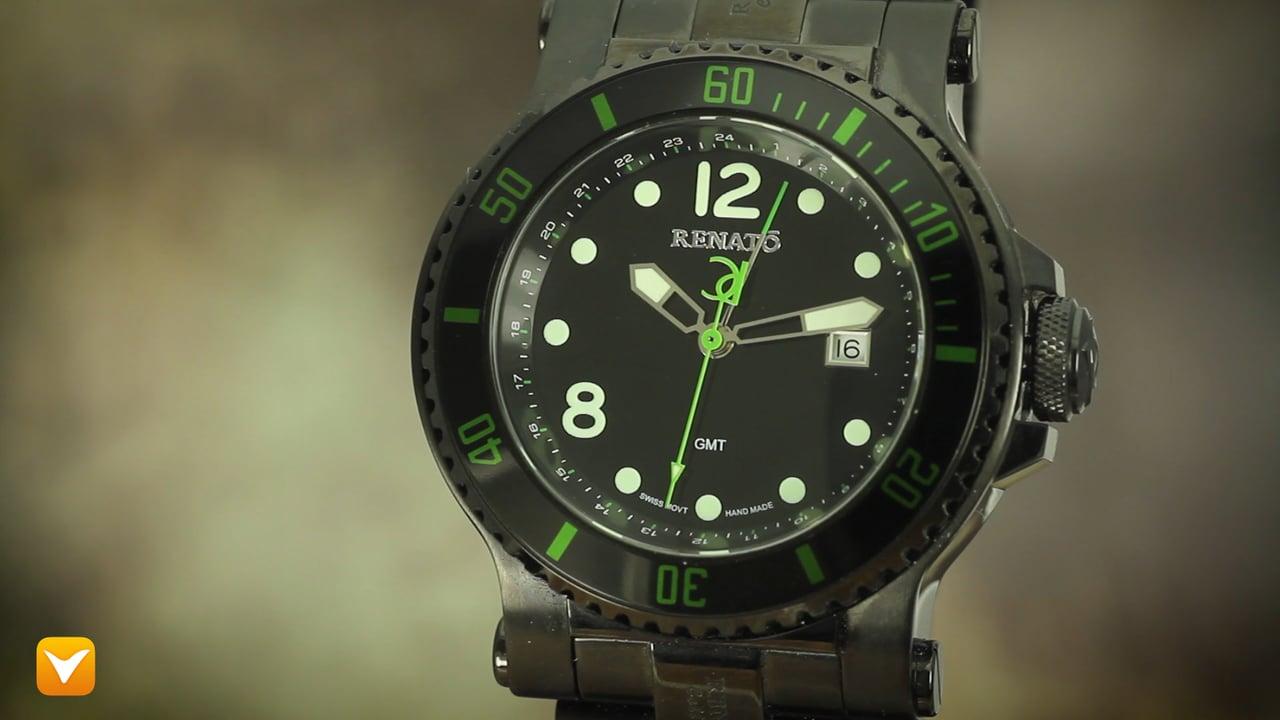 Renato TB-AG-TB-R515 Renato T-Rex 100ATM Diver GMT Black IP Green Accents - Only 100pcs Made