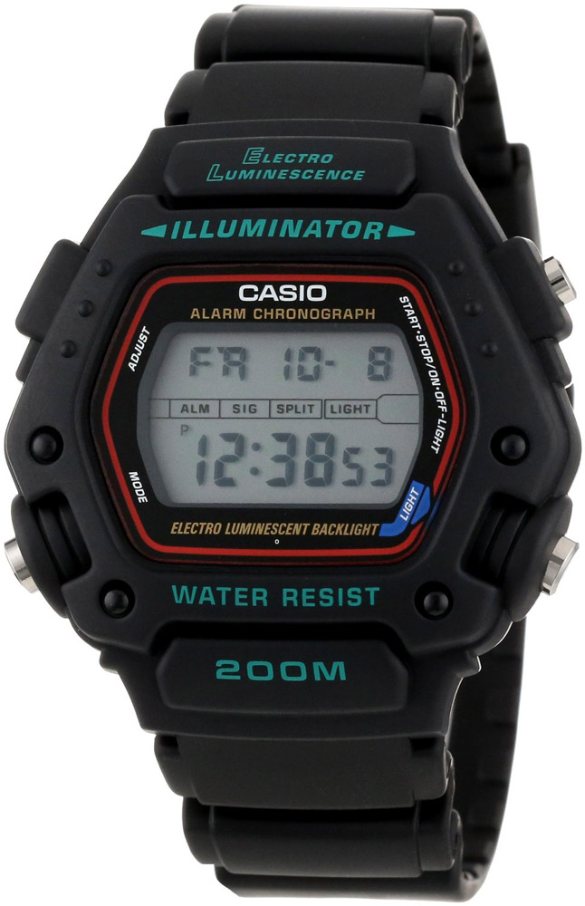 DW-290-1V Casio Mens Classic chronograph Black Band Digital Dial