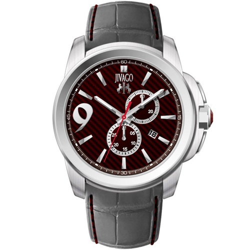 JV1516 Jivago Mens Gliese Grey Band Maroon Dial