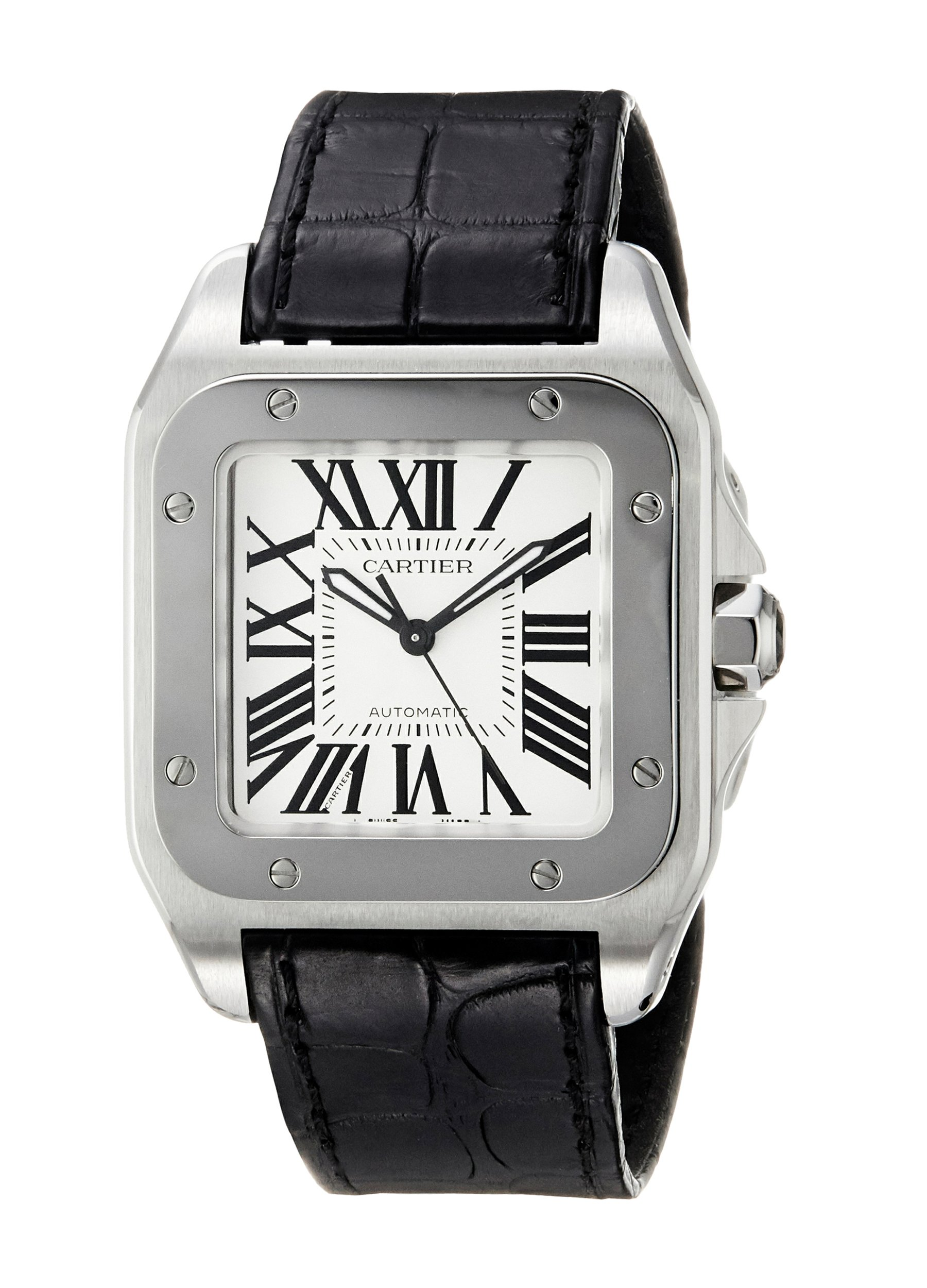 B000SBN6CU B000SBN6CU To UK £5283 US $4915 Cartier Unisex Santos 100 Black Leather Band Steel Case Automatic Silver-Tone Dial Analog Watch W20106X8