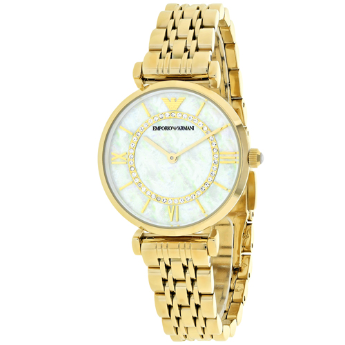 AR1907 Armani Ladies Classic Gold Tone White Mother of Pearl Dial
