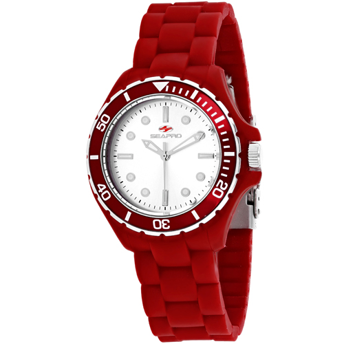 SP3214 Seapro Womens Spring Red Band Silver Dial