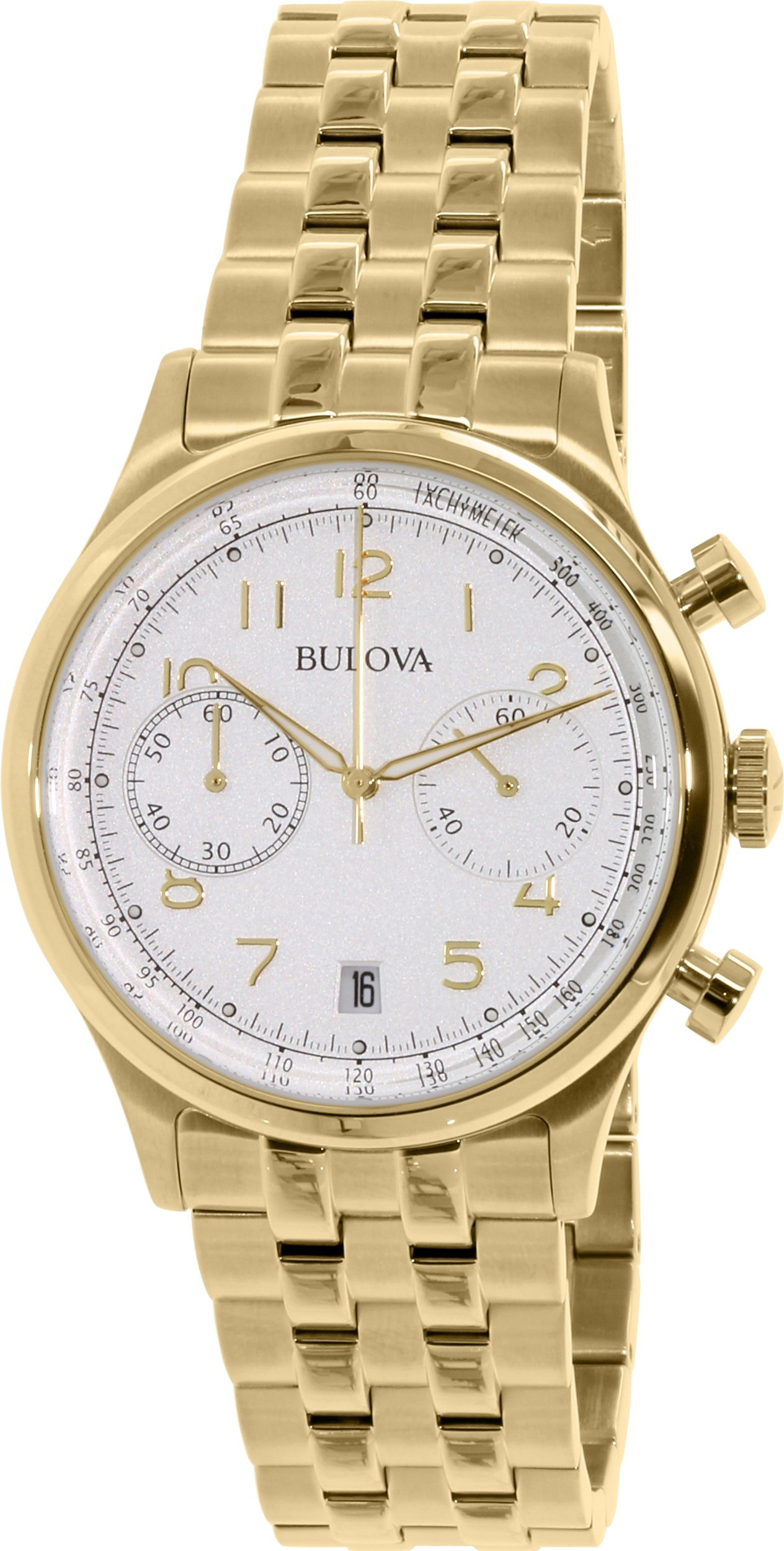 Bulova 97B149 Bulova Classic 2Reg Chronograph Gold Tone Silver Dial Dress Watch