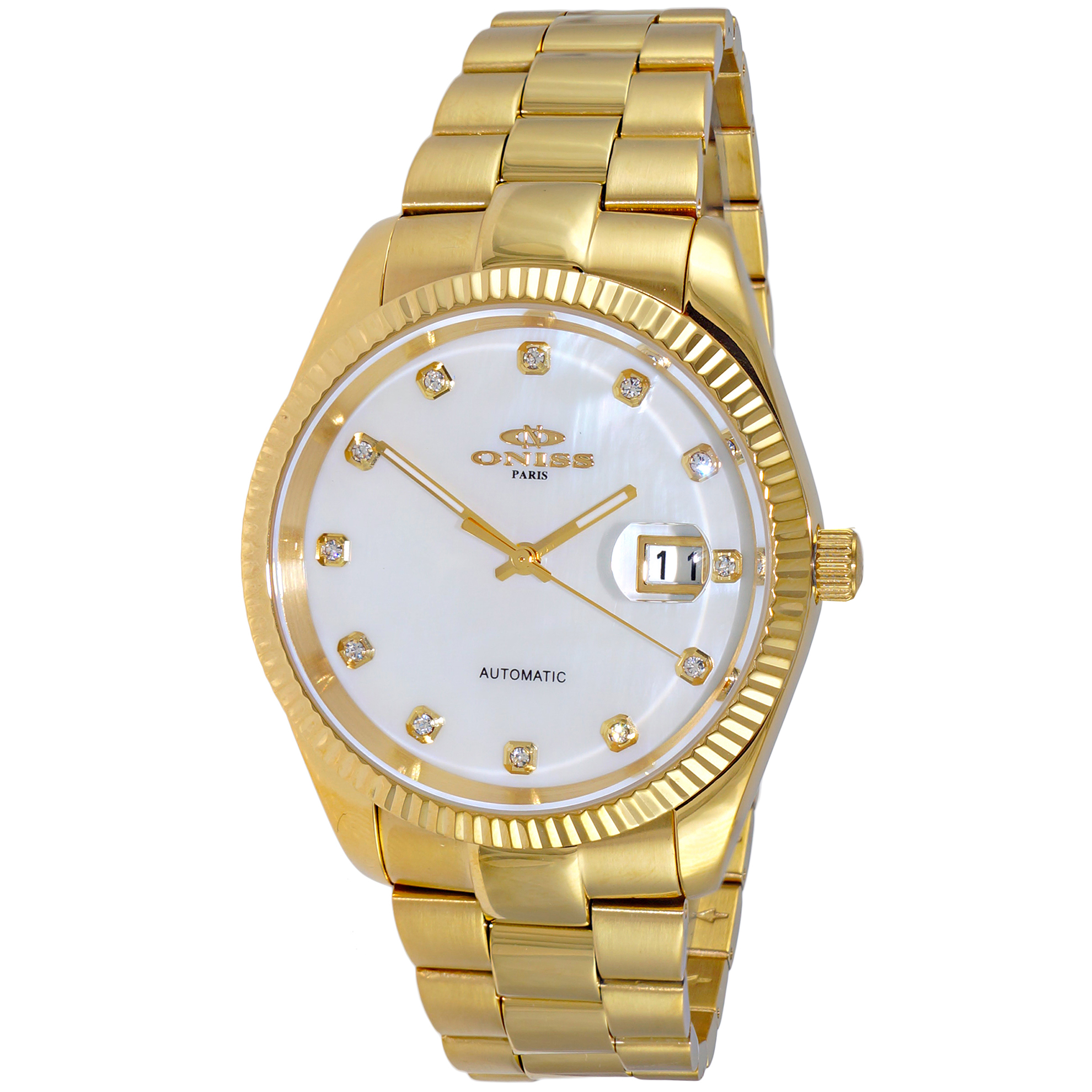 Oniss ON3885-MGWT Oniss RX Automatic White Mother of Pearl Gold Tone Glassback