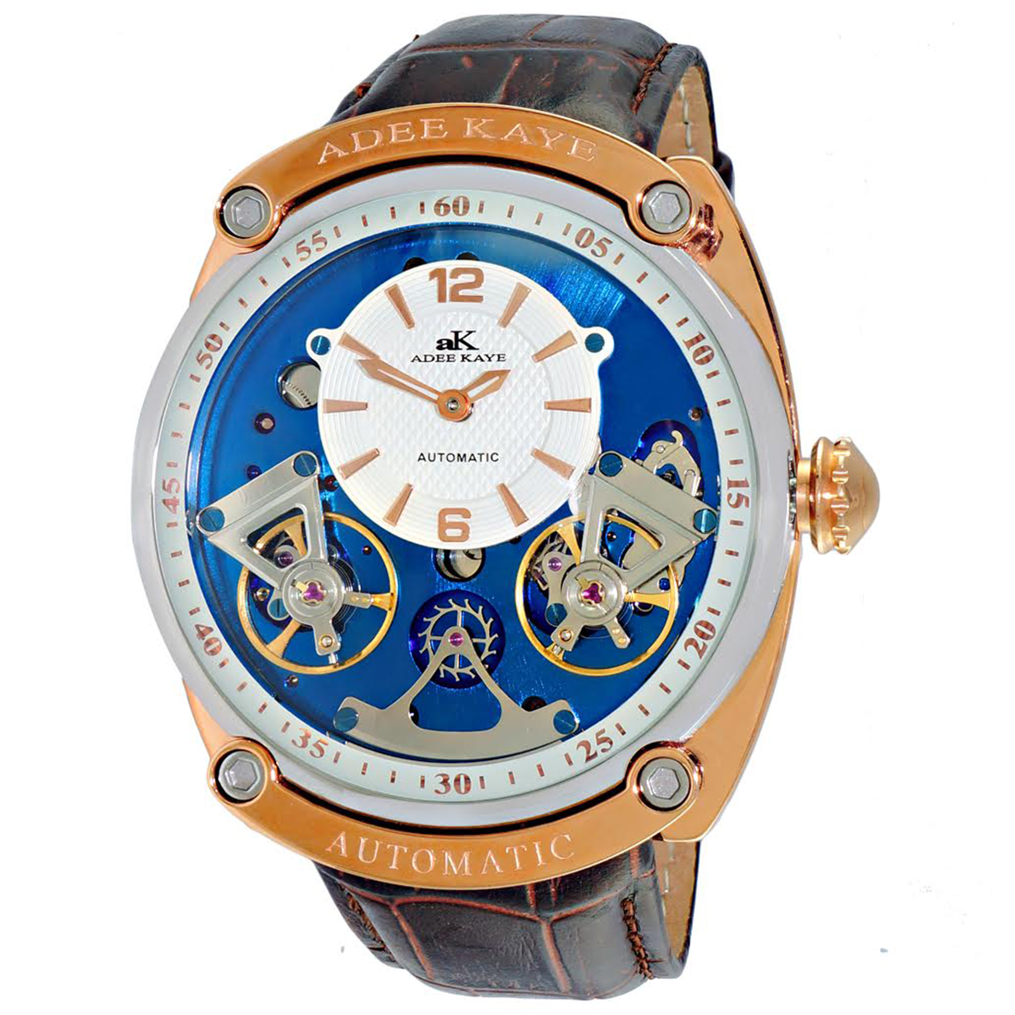 Adee Kaye AK2288-MRGBU Adee Kaye of Beverly Hills Double Heartbeat Automatic Rose Gold/Blue