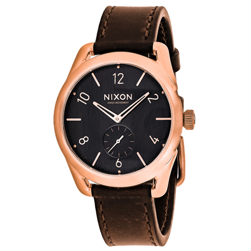 A459-1890 Nixon Mens C39 Brown Band Grey Dial