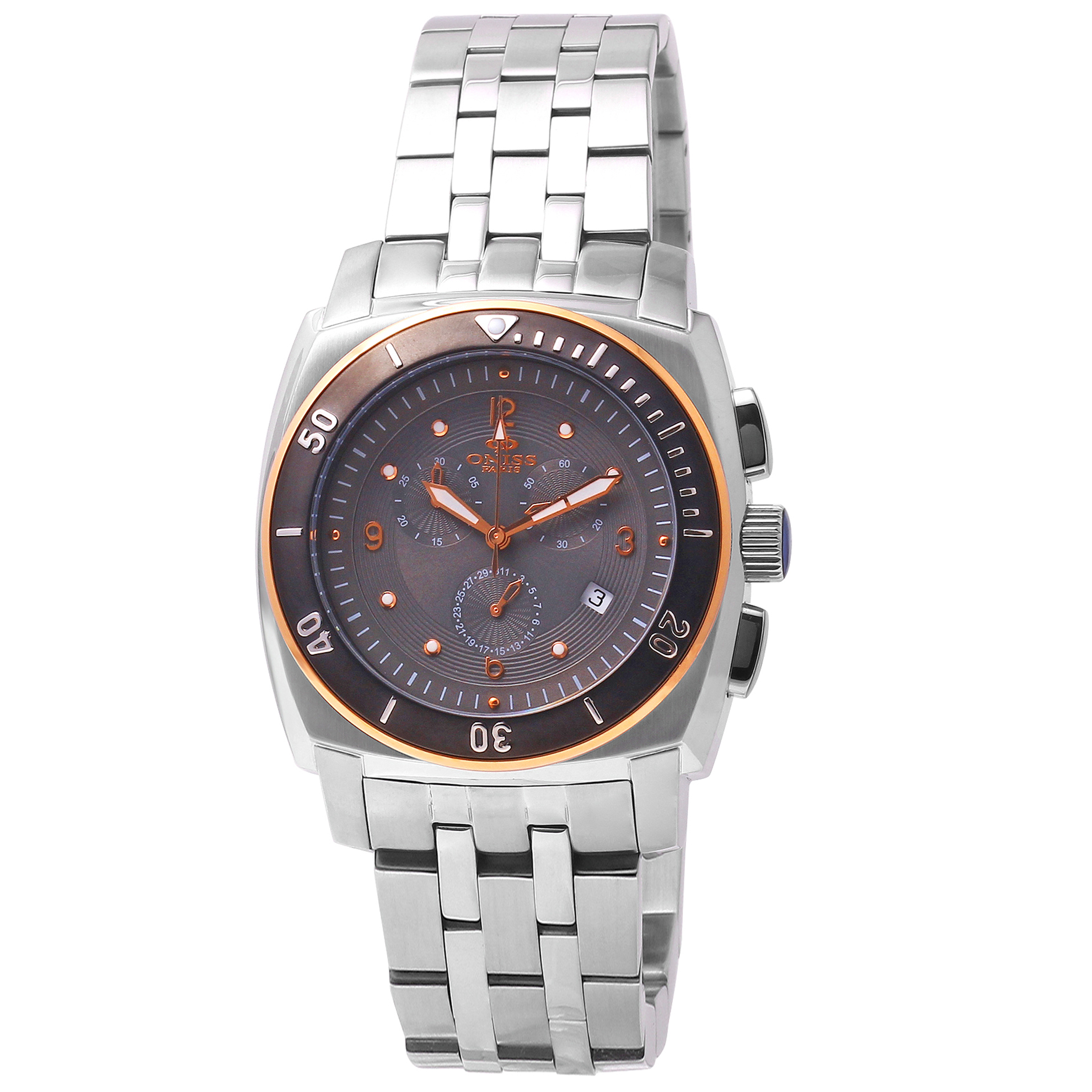 Oniss ON614-M Oniss Men's Chronograph Stainless Steel Black/Rose Gold Dial