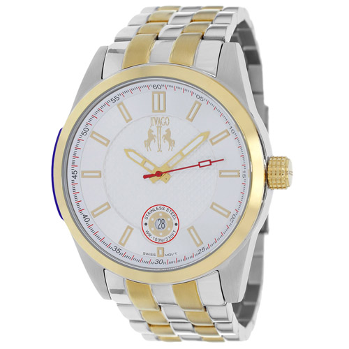 JV7112 Jivago Mens Rush Two-tone Silver Gold Band Silver Dial
