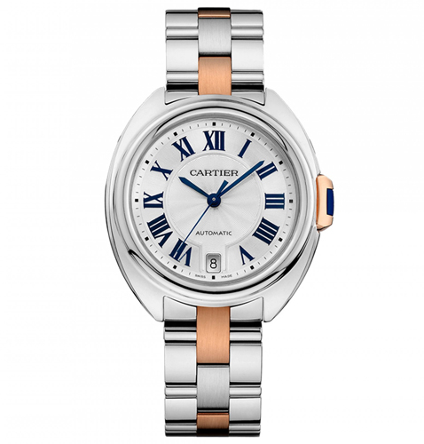 W2CL0003 Cartier Womens Cle De Cartier W2CL0003 Two-tone Silver and Rose Gold tone Band Silver Dial