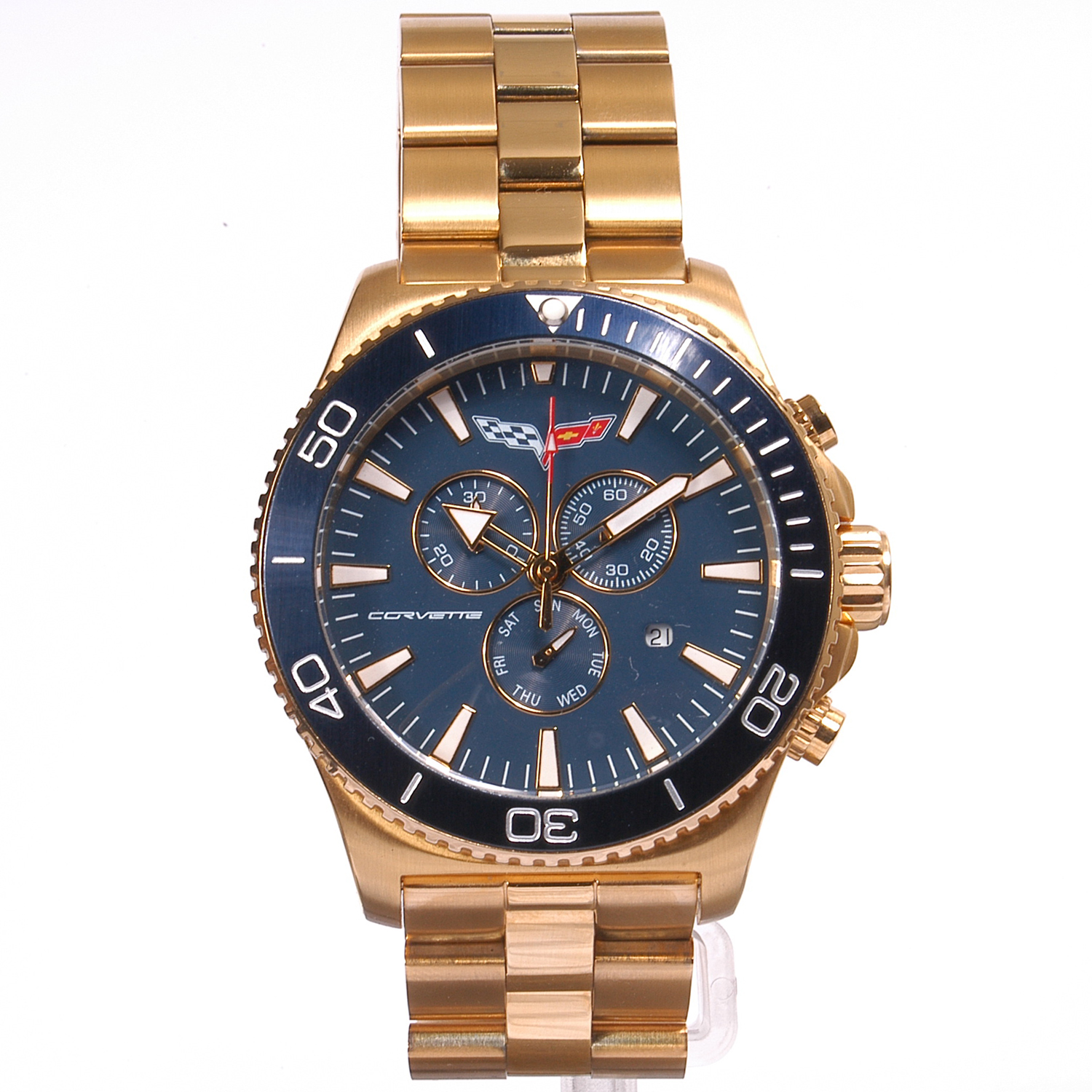 AKCR215-G Corvette 215 Swiss Chrono Collection Blue Dial Gold Tone