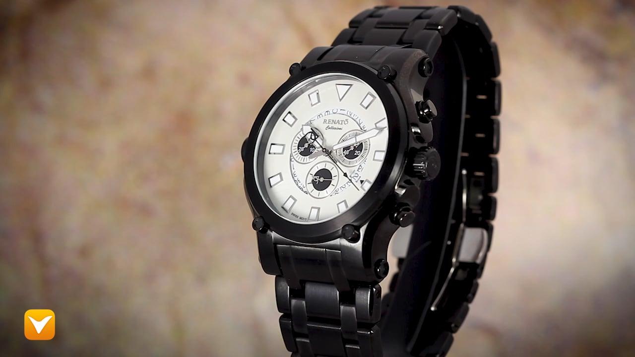 Renato 50CB-W-50CB-5040D Renato Robusto 50 Swiss Chronograph Black IP Snow Dial