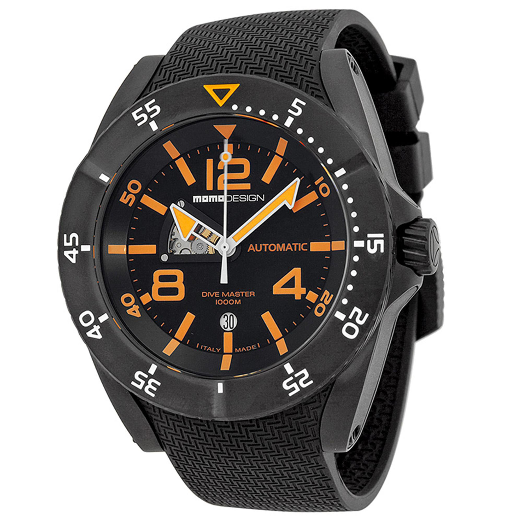 MOMO Design MD279BK31 Momo Design Dive Master Swiss Automatic Black  Dial Orange Markers Rubber Strap