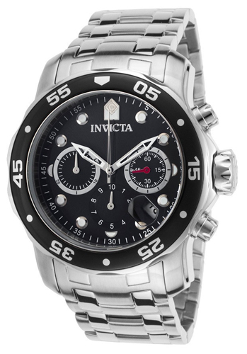 21920 Invicta Mens Pro Diver  Steel Band Black Dial