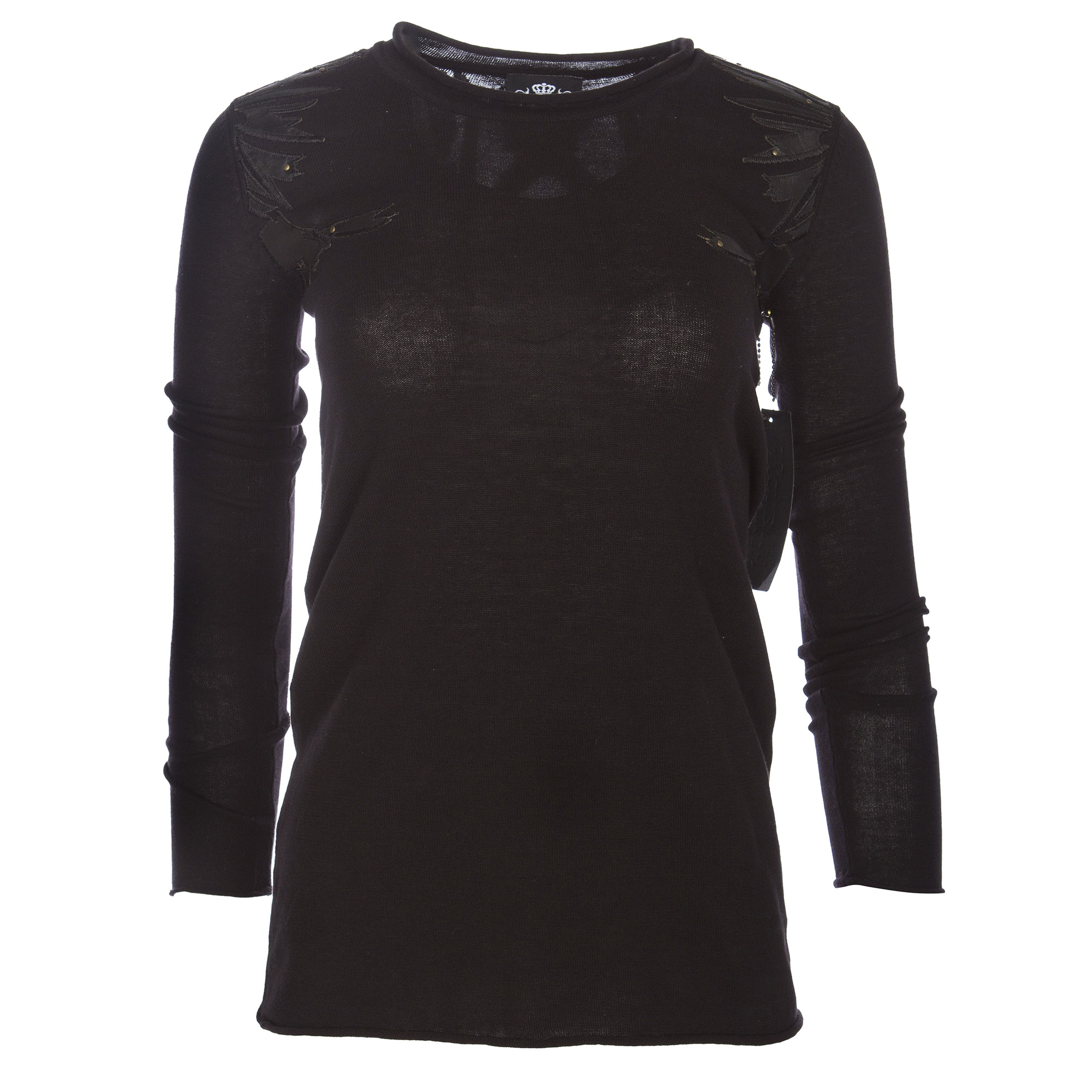 RAW 7 Y08A20S Royalty By Raw7 Women's Black Crew Neck Sweater Eagles Design