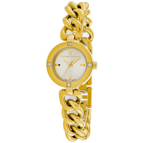 CV0214 Christian Van Sant Womens Sultry Gold Band Silver Dial