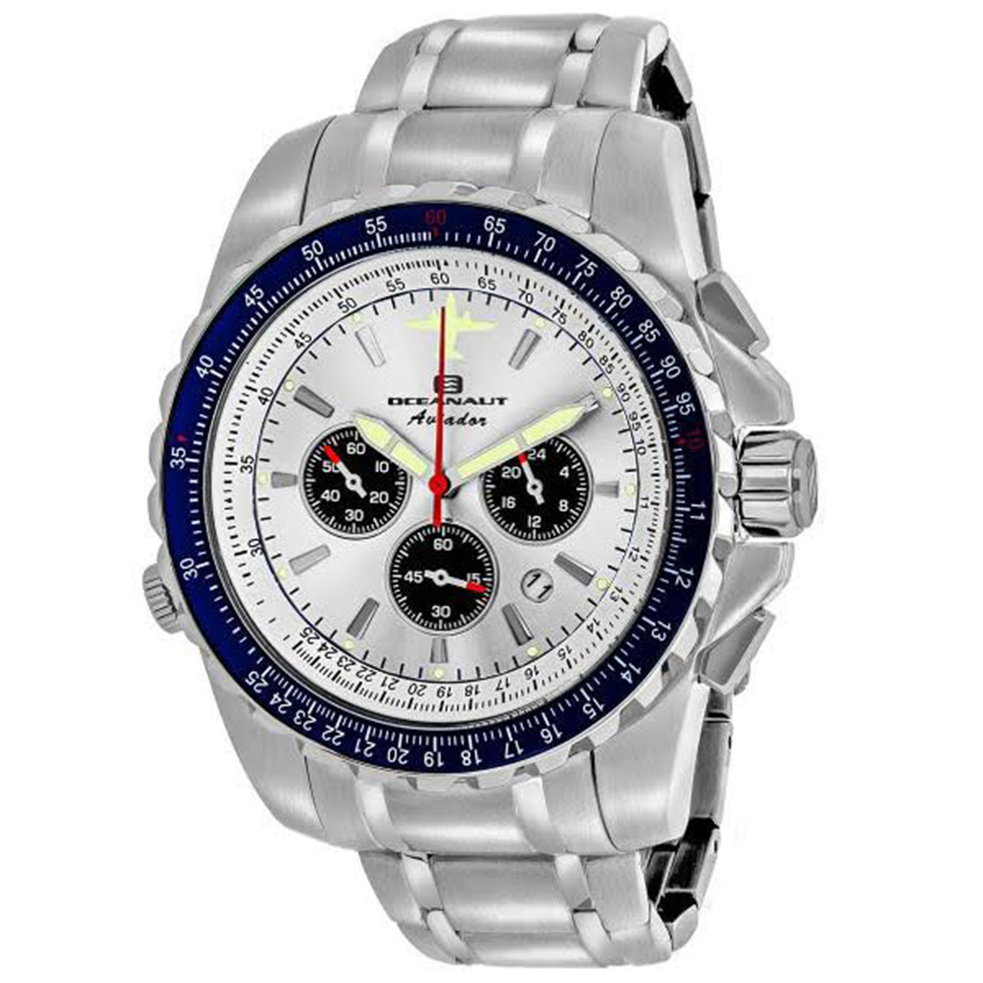 Oceanaut OC0110-SE_SLV_BLU Oceanaut Special Edition Aviador Chronograph Silver Dial Blue Bezel
