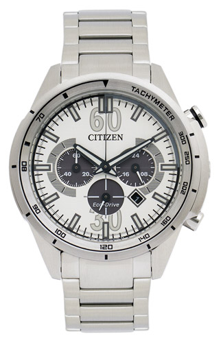 CA4120-50A Citizen Mens Eco-Drive Chronograph  Quartz Silver Band Silver Dial