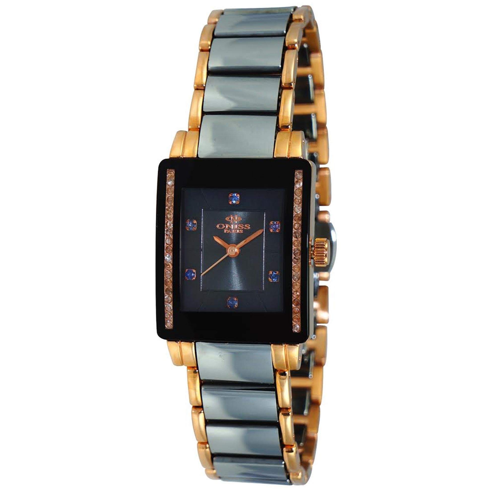 Oniss ON613-LRG Oniss Ladies Swiss Sapphire Tungsten Rose Gold Black Tank