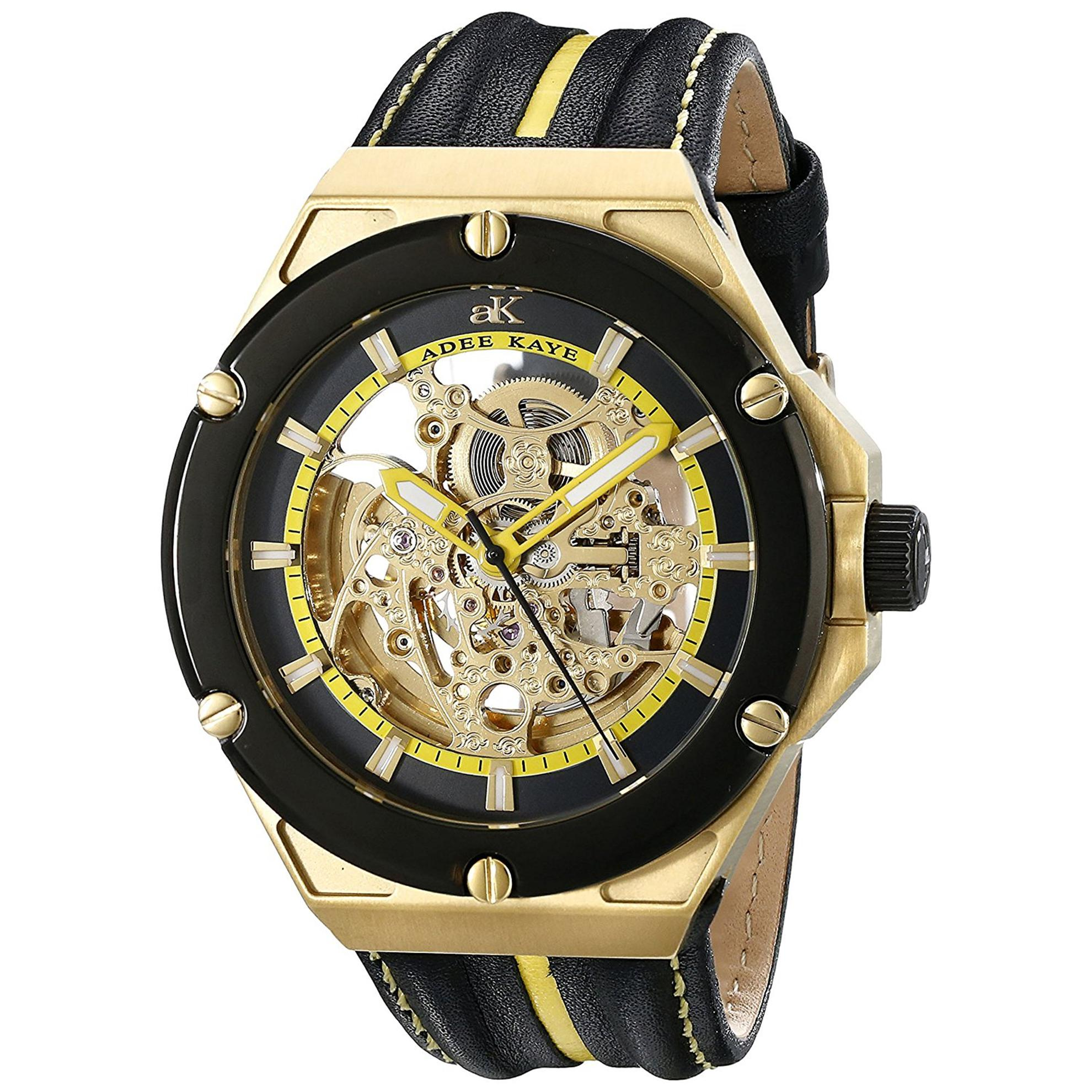 Adee Kaye AK2240-MG-YW Adee Kaye Skeleton Automatic Gold Tone Black Yellow Dial Black Leather Strap