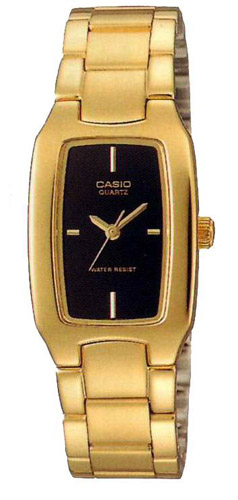 LTP-1165N-1C Casio Womens Classic Quartz Gold Band Black Dial