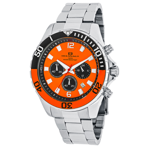 OC2522 Oceanaut Mens Sevilla Silver Band Orange Dial
