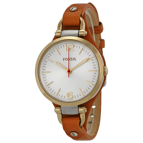 ES3565 Fossil Womens Georgia Brown Band Silver Dial