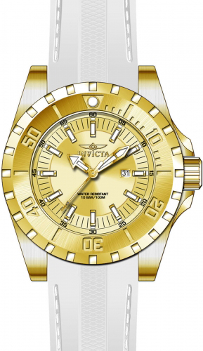 23740 Invicta Mens Pro Diver  White Band Gold Dial