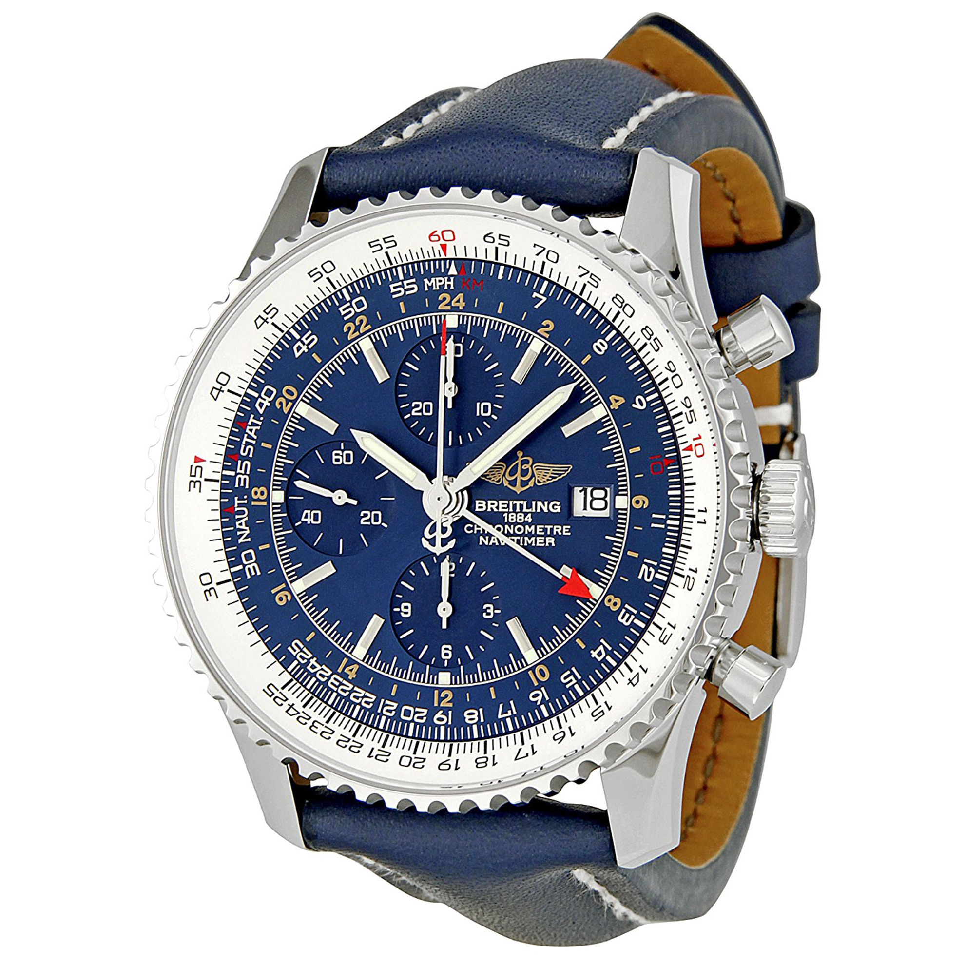Breitling A2432212_C651DL Breitling Navitimer Blue Chronograph Blue Leather Strap