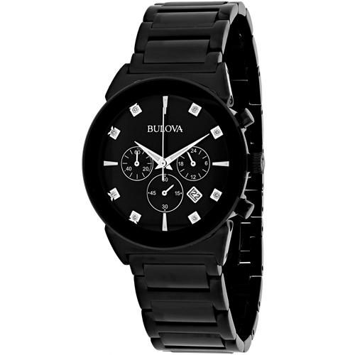 98D123 Bulova Mens Chronograph Diamond All Black Stainless Steel Black Dial
