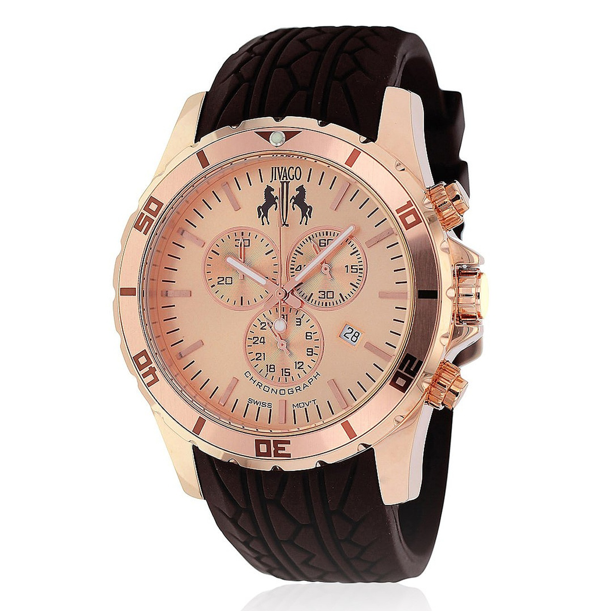 Jivago JV0122 Jivago Men's Ultimate Sport Chronograph Rose Gold Brown Rubber Strap
