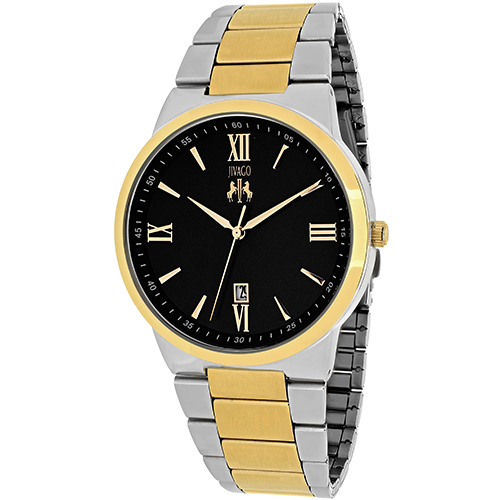 JV3513 Jivago Mens Clarity Two-tone silver gold tone Band Black Dial