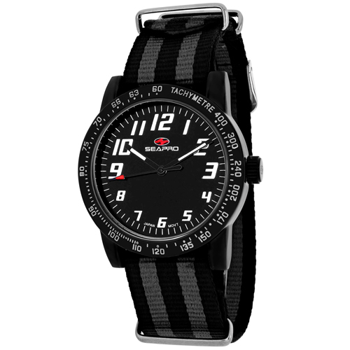 SP5214NBK Seapro Womens Bold Black and Grey Band Black Dial