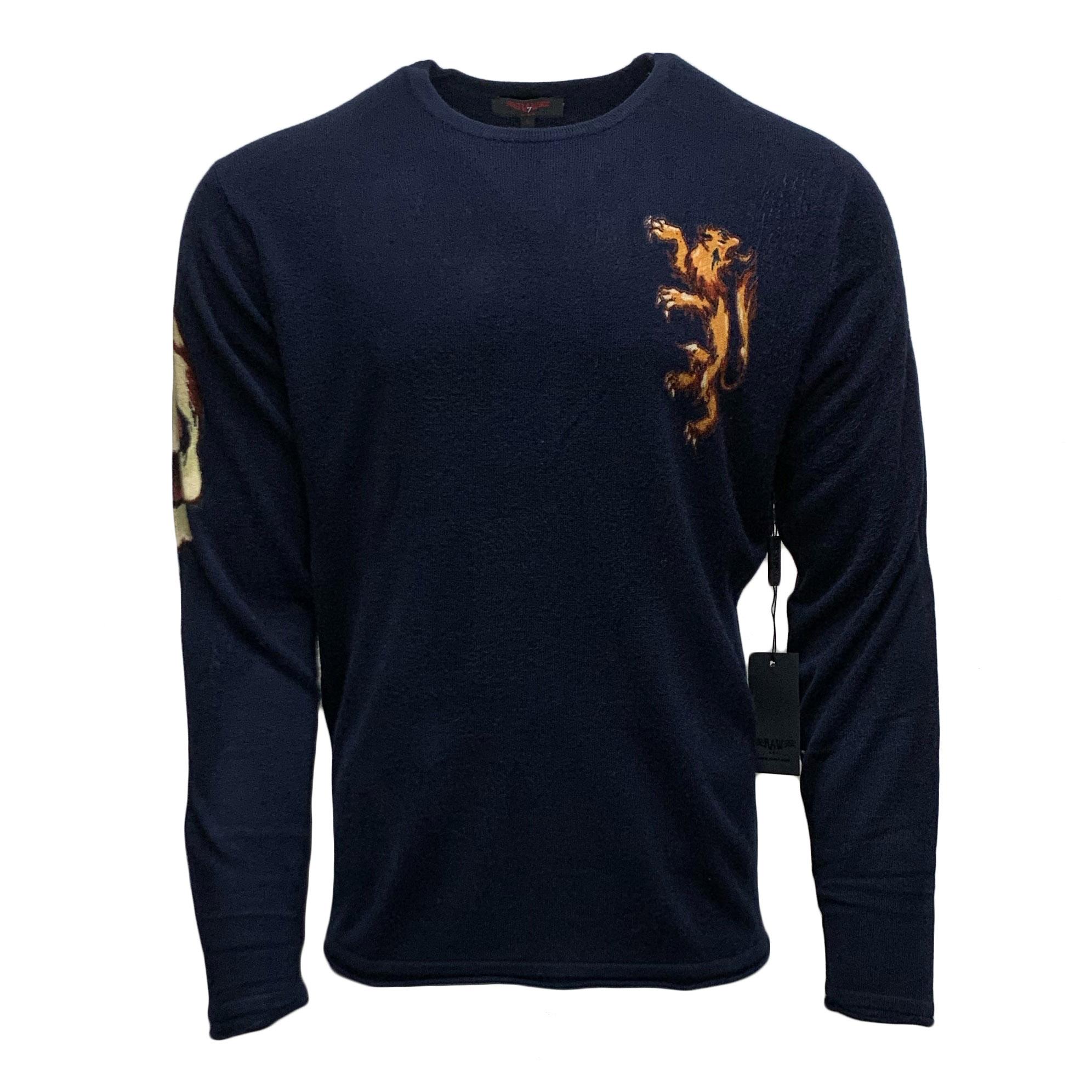 RAW-7 G09H03-EAGLE-LION RAW7 Men's 100% Acrylic Crewneck Sweater Eagle Lion Design - Navy