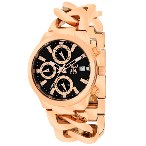 JV1243 Jivago Womens Levley Rose gold Band Black Dial